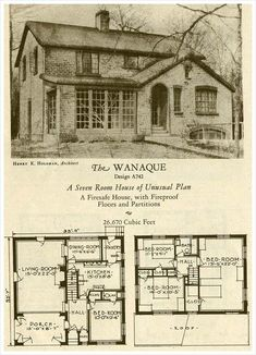American eclectic style - The Wanaque - 1927 Brick Homes of Lasting Charm. I love this First Floor Floor Plan. I'd turn the Dining Room into the Bathroom. The Stairway can be the Hallway. Detail Architecture, Vintage Architecture, Architecture Plan, Sims House Plans, Small House Plans, House Floor Plans, Brick House Plans, The Plan, How To Plan