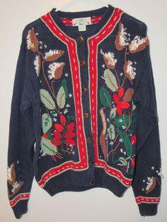 Orvis Sweater Cardigan floral Multi-color Cable Knit Cozy Cotton L Cotton Blend   | eBay