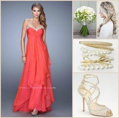 La Femme 21374 long prom dress - coral prom dress - homecoming dress - formal dress - bridesmaids dress - pageant dress - chiffon dress - tiered skirt - gathered bodice - embroidered - sweetheart neckline - strapless - style inspiration - wedding inspiration - hair inspiration - jewelry - bouquet - gold accessories - heels