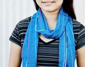 Woven Scarf (Royal Blue with Bright Stripes, by Jan)