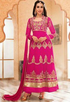 Dark Pink Color Georgette Salwar Kameez