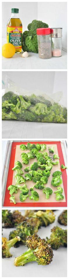 Super Simple Roasted Broccoli. So good, kid friendly and you will want to eat the whole tray! #sides #healthy #vegan #vegetables