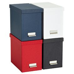 To use instead of a filing cabinet (just put them on a bookshelf)? A bin for credit card/financials, taxes, etc.