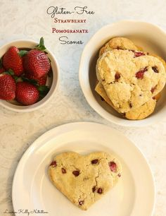 These adorable heart-shaped gluten free Strawberry Pomegranate Scones will make your loved one super happy.