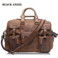 BLACK ANGEL men bag Genuine Leather Men Cowhide Leather Briefcase Laptop Tote Shoulder Messenger Bags Crazy Horse Leather bag