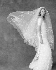 White Polka-Dot Wedding Veil | Martha Stewart Weddings