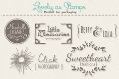 Cute Premade Logo Templates - Set 6 by The Pen and Brush on Edit Logo, Hand Drawn Logo, Little Designs, Papers Co, Logo Templates, Create Yourself, Whimsical, How To Draw Hands, Logo Design