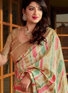 Buy designer saree and indian saree online. Order this art silk multi colour weaving work designer traditional saree. Bengali Bridal Makeup, Silk Saree Kanchipuram, Beautiful Women Over 40, Saree Trends, Indian Sarees Online, Blouse Neck Designs, Indian Wedding Outfits, Fancy Sarees, Traditional Sarees