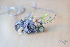 Serenity flower crown wedding ash blue floral headband by Vualia
