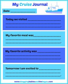 My Cruise Journal - Travel Printable for Children