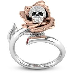 Creative Two-tone Skull And Rose With Cubic Zirconia Studded Designer... ❤ liked on Polyvore featuring jewelry, rings, cz jewelry, skull rings, rose ring, cubic zirconia rings and stud ring