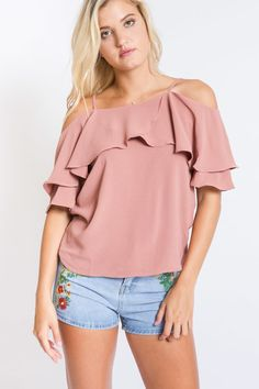 Serendipity Ruffle Off the Shoulder Top | Blush Pink $34