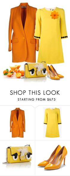 """Yellow Dress Orange Coat"" by danewhite ❤ liked on Polyvore featuring STELLA McCARTNEY, Dolce&Gabbana, Fendi and Rupert Sanderson"