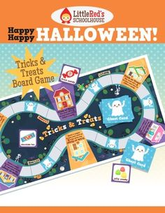Happy Happy Halloween - Tricks & Treats Board Game Fun Activity ~ An original Halloween-themed board game featuring  simple gameplay. Recommended for primary students. Players must collect six candy pieces as they 'trick-or-treat' around the board.     (© Little Red's Schoolhouse)