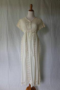 KROSHETTA By Pappilon (Nataya) Ivory & white cotton Lace Summer Day Dress  S #KROSHETTA #Sheath #Casual