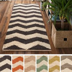 Hand-Woven Romsey Chevron Reversible Jute Rug (2'6 x 8') (Olive-(2'6 x 8')), Green, Size 2' x 8'