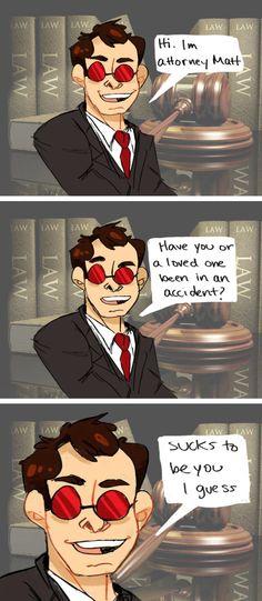 Daredevil Matt Murdock comic (based off a vine) by crabuncle on Tumblr | MATT NO