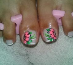 Toenail Art Designs, Pedicure Designs, Pedicure Nail Art, Toe Nail Art, Pretty Toe Nails, Cute Toe Nails, Love Nails, Fun Nails, Purple And Pink Nails