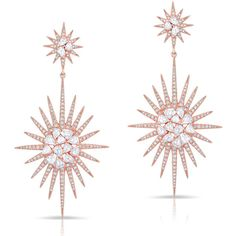 Anne Sisteron  14KT Rose Gold Diamond Double Fireburst Drop Earrings (€7.110) ❤ liked on Polyvore featuring jewelry, earrings, accessories, rose, red gold jewelry, diamond earrings, diamond drop earrings, diamond jewelry and rose jewellery
