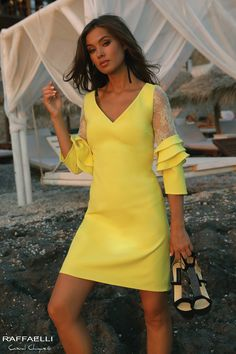 Short yellow dress with lace sleeves and ruffle detail Dressy Dresses, Sexy Dresses, Evening Dresses, Short Dresses, Dresses With Sleeves, Summer Dresses, Lace Sleeves, Yellow Formal Dress, Yellow Wedding Dress