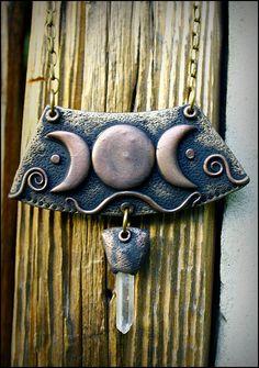 Drievoudige maan godin ketting heidens symbool door SweetlyART