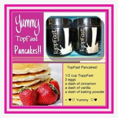 Great pancake recipe using ToppFast meal replacement powder! Easy to customize and fast to make on busy mornings! Never sacrifice your healthy metabolism by going without a meal! http://www.sabaforlife.com/nicoled