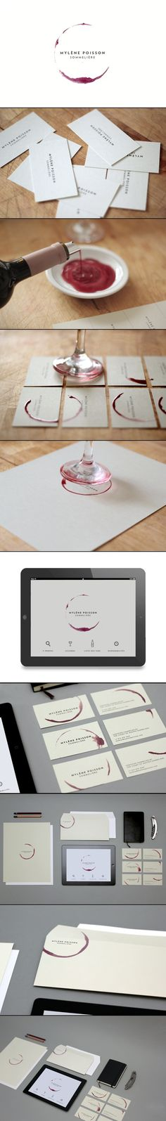 While this is a branding idea for a sommelier, I think this would be a neat way to dress up name cards for a wine dinner party.