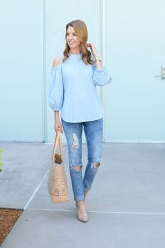 Open Shoulder Top under $60 | Ripped Jeans | spring style | spring fashion | fashion for spring and summer | warm weather fashion | style tips for spring | fashion tips for spring || Absolutely Annie
