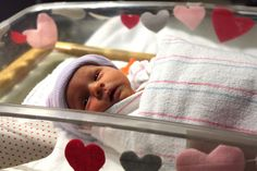 Heart garland for the newborn hospital crib.