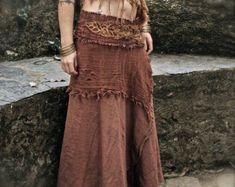 Organic Veg Dye Hemp Cotton earthy Long sleeve T shirt with Viking style inspired prints Eco Friendly Gypsy Bohemian Skirt, Boho Gypsy, Gypsy Style, Gypsy Skirt, Hippie Style, Khadi, Flamenco Skirt, 2 Kind, Native American Fashion