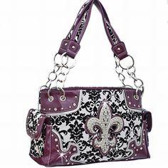 Western Fleur De Lis Damask Pattern Handbag Rhinestone Purse Purple Trim