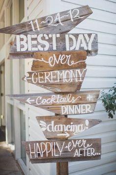Letrero indicador boda best day ever