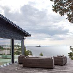 Summer house in Kirkkonummi, Finland. Outdoor Sofa, Outdoor Furniture, Outdoor Decor, Water House, Humble Abode, Future House, Beach House, Interior Decorating, Villa