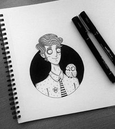 WEBSTA @ behemot_crta_stvari - First look at Christof, Hufflepuff character design. Feel free to name his owl :-)...#illustration #ilustracija #dibujo #art #artwork #fanart #character #characterdesign #doodle #doodling #sketching #sketch #sketchbook #draw #drawing #design #blackwork #tattoo #ink #inking #inkwork #hogwarts #harrypotter #potterhead #hufflepuff #timburtonstyle #burtonesque