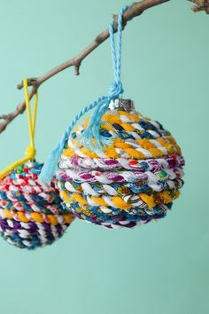 Upcycle old Christmas ornaments into new eco-friendly decorations. These colourful Recycled Christmas ornaments are a great way to use up old fabric scraps. Fabric Christmas Ornaments, Christmas Baubles, Rustic Christmas, Christmas Decorations, Christmas Ideas, Christmas 2014, Christmas Stuff, Scrap Fabric Projects, Fabric Scraps