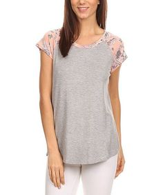 Charcoal & Pink Floral Cap-Sleeve Top