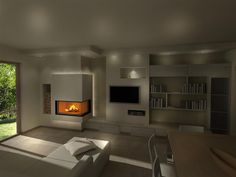 Render camini moderni (76) Modern Fireplace, Fireplace Design, Living Room Tv, Living Room With Fireplace, Tv Wand, Family Room Walls, Room Wall Colors, Scandinavian Apartment, My Ideal Home