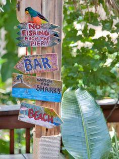 Fun Beach and bar signs with a tropical flair.