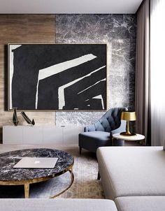 CZ Art Design. Horizontal Minimal Art, minimalist painting on canvas, black and white large canvas art #MN26C. for contemporary homes. Interior design decor.