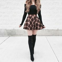 36 schicke Herbst-Outfit-Ideen, die Sie lieben werden 36 chic fall outfit ideas that you'll love – – Trend Fashion, Teen Fashion Outfits, Edgy Outfits, Cute Casual Outfits, Mode Outfits, Cute Fashion, Pretty Outfits, Autumn Fashion, Fashion Dresses