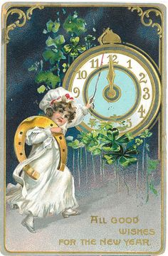 All good wishes for the New Year! #clock #vintage #New_Years #card
