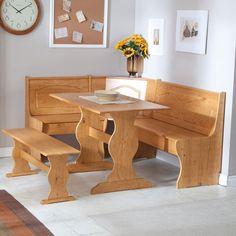 Reversible 3 Piece Corner Dining Set Light Honey Natural Wood Finish