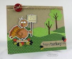 Turkey Day Gobble Card By: Kendra Wietstock #Cardmaking, #Thanksgiving, #TEMatched, #BuildAScene, #LittleBitsDies, #TE, #ShareJoy