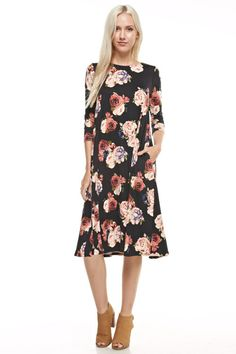 Show Me Love Floral Pocket Midi Dress Plus Dresses, Dresses For Work, Dresses With Sleeves, Carrie Bradshaw Style, Wholesale Clothing, Dress Patterns, Spring Outfits, Fashion Dresses, Cold Shoulder Dress