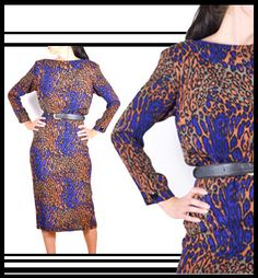 FLORA KUNG Leopard Print Silk 80s Maxi Dress