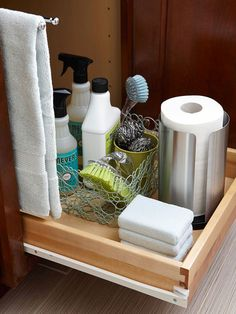 15 Lifehacks For Your Tiny Bathroom Container store, pull out shelf