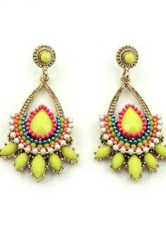Yellow Beaded Statement Earrings