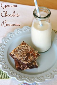 German Chocolate Brownies by @Glorious Treats.  Will have to try these.