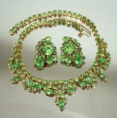 $125.00 Vintage KRAMER Peridot Green Rhinestone Navette Bib Necklace Earrings Set