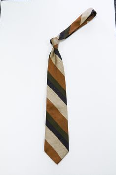 Brown/olive/navy striped tie #A6251218